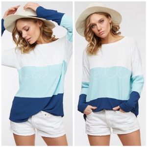 Blue and White Color-Block Top